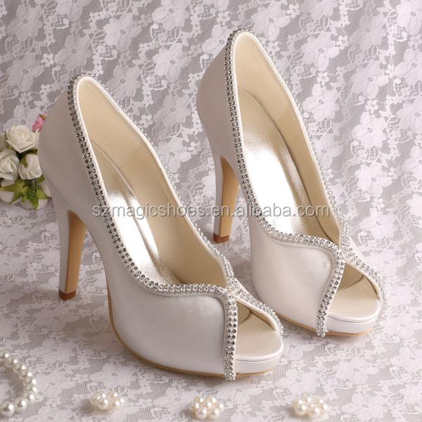 21 Couleurs) En Satin Ivoire Mariage Chaussures De Mariée En Chine ... 60e3a4c4e1c