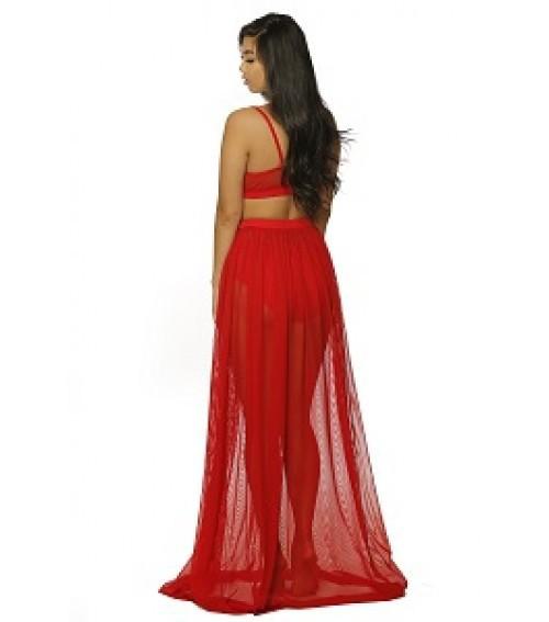 d1d8a08ea 2019 Wholesale Women Crop Top And Maxi Long Floor Sheer Skirt Saias ...