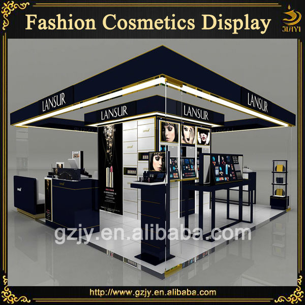 Expo Stands Eyeshadow : High grand makeup kiosk design with glass showcase and