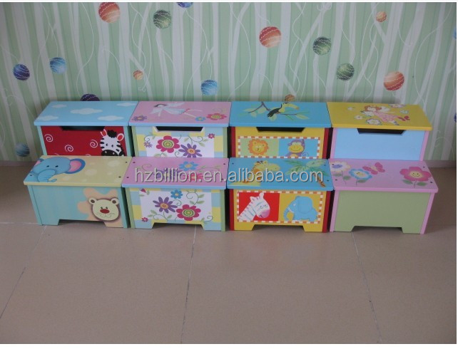 Wooden Quality Hand Painted Bright Color Toddler Step