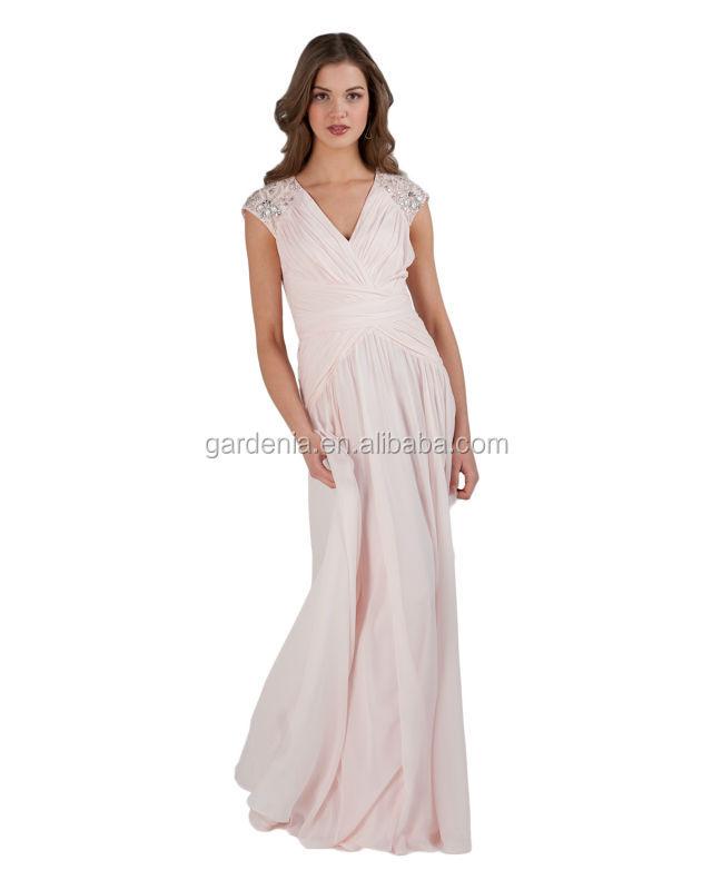 Cor Rosa Frisado Chiffon Ruched Longo Vestidos Das Mulheres