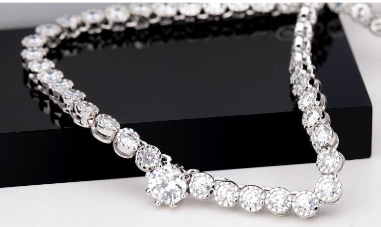 LUOTEEMI Simple Crystal Cubic Zircon Stone Necklace and Earrings Bride Wedding Jewelry Set
