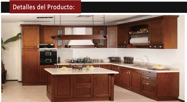 estilo americano simple muebles de cocina de madera blanco nogal