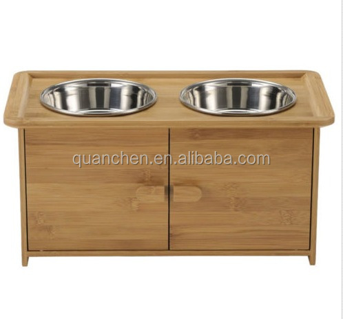 Personalized Bamboo Dog Bowls With Food Storage Cabinet  Buy