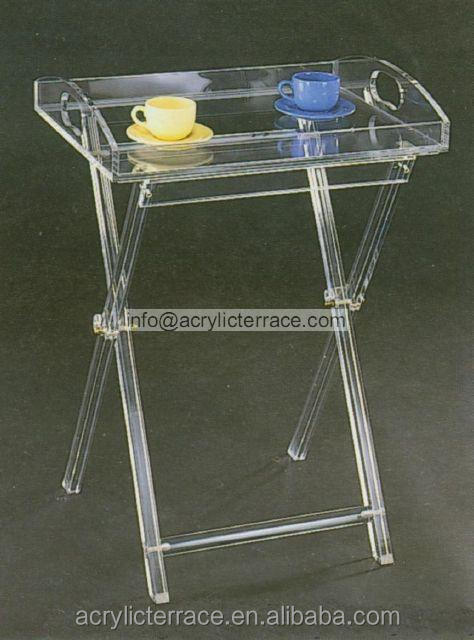 Clear Folding Tables Acrylic Hotel Serving Tray On Stand HA14030101047 Part 95