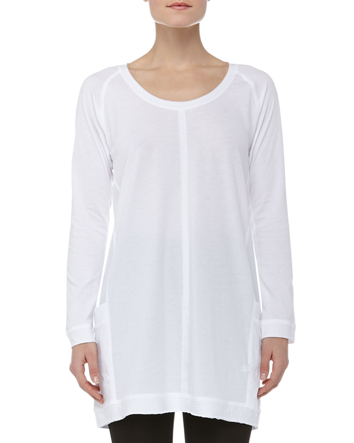 Ladies Collarless Long Sleeve Pullover Super Soft Sleep Shirt With ...