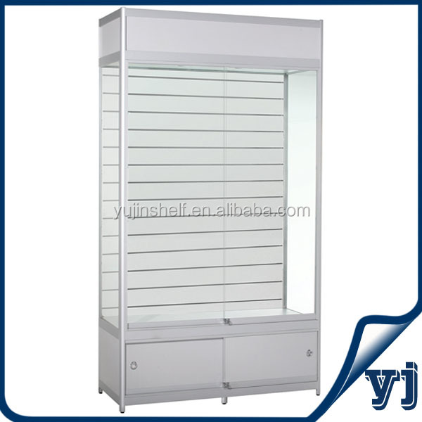 Guangzhou Yujin Shelf Display White Color Lighted Modern Glass Display  Cabinet With Storage Cabinet And Mirror