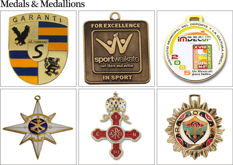 custom made metal soft enamel chest medal with drape