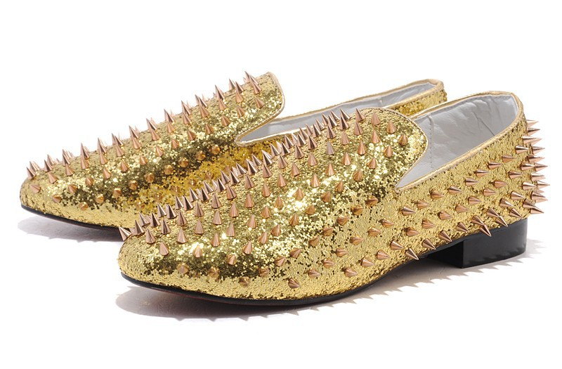 footwear super popular various colors Size:39 46 Men'S Red Bottom Gold Glitter Leather Slip On Low Top ...