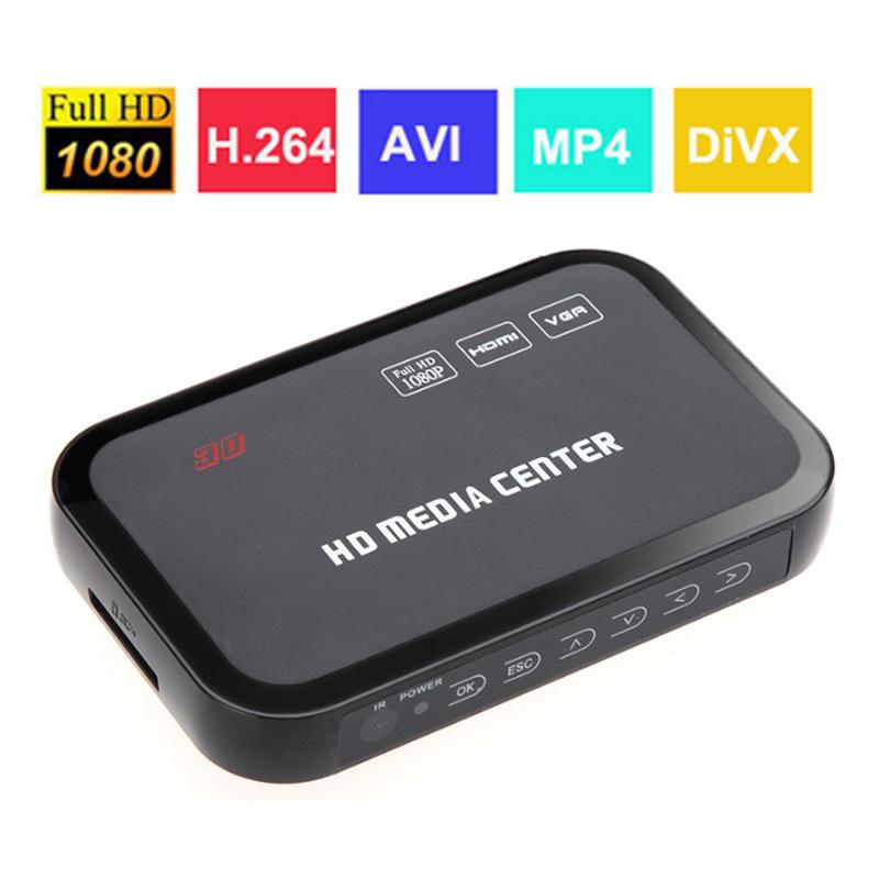 1080P Full HD Media Player מרכז מולטימדיה נגן וידאו עם חיבור HDMI VGA, AV, USB SD/MMC נמל שליטה מרחוק Surpport mkv H. 264