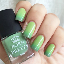 1 Bottle 6ml Born Pretty Fresh Green Colors Thermal Nail Polish Temperature Color Changing Polish 5