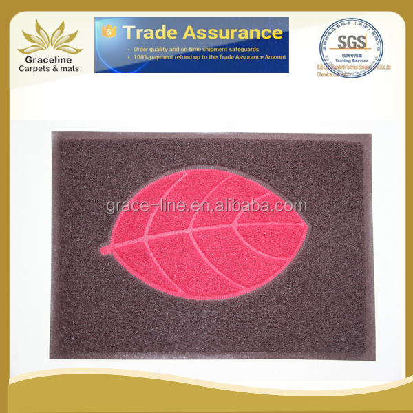 Leaf design pvc foot mat with foamed backing