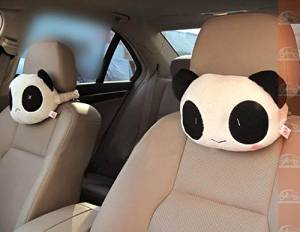 1pair X Lovely Cute Panda Plush Neck Cartoon Car Head and Body Support Pillow Seat Neck Pillow New