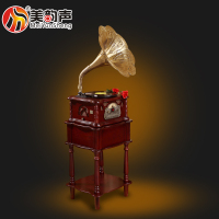 Fashionable Antique Gramophones With Multiple Audio Records Player With 3 Speed Turntable Portable Music box