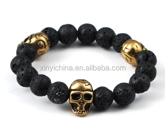Health jewelry skull bracelet made with volcanic stones beads