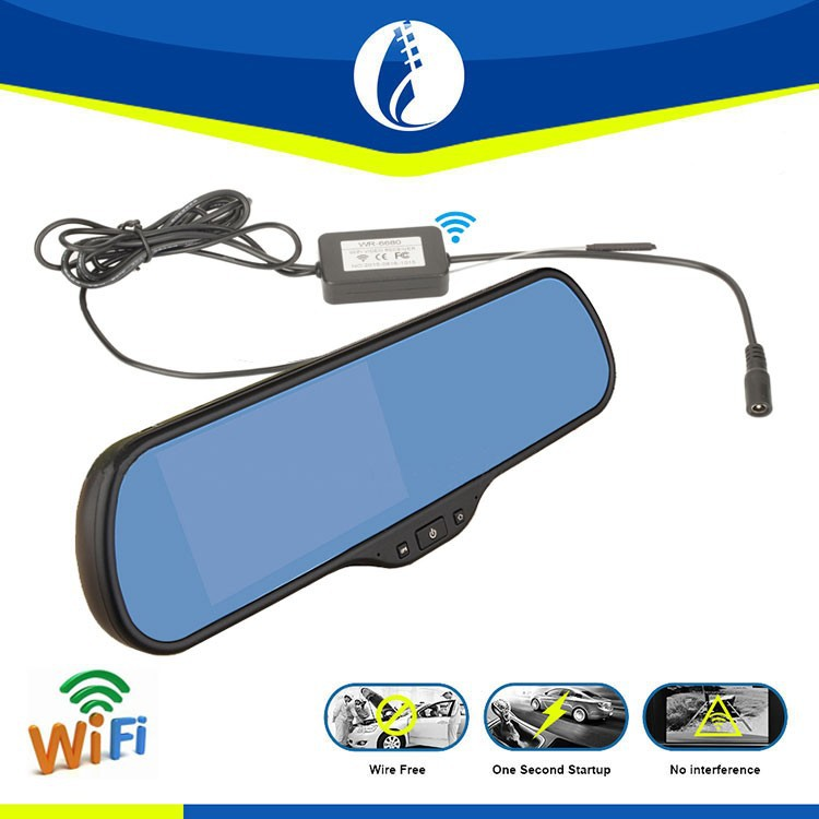 5 inch Android WIFI wireless GPS navigator car rear view mirror with dual camera