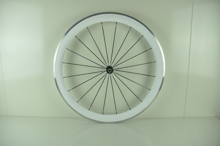 Carbon white color Aluminium wheels clincher road bike wheelset 50mm