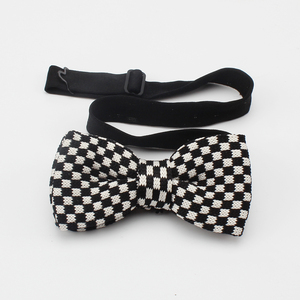 Luxury Black And White Checked Unique Knitted Bowties With Box