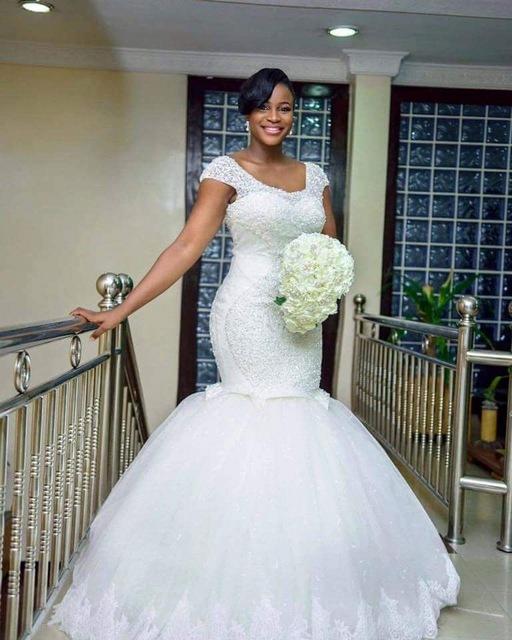 H014 Vestido De Noiva Sereia Bridal Dress White Luxury Mermaid