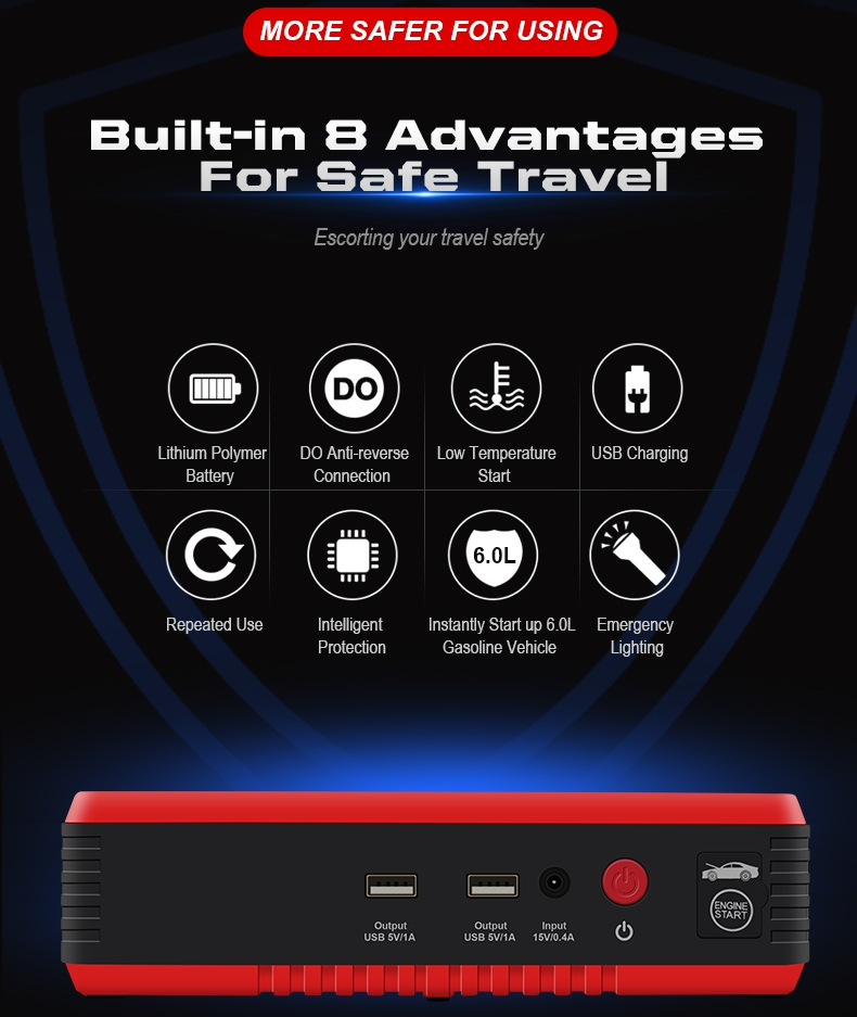 2019 Europe hot selling jump start system 14000mAh 600A air pump 12v car jump starter power bank booster
