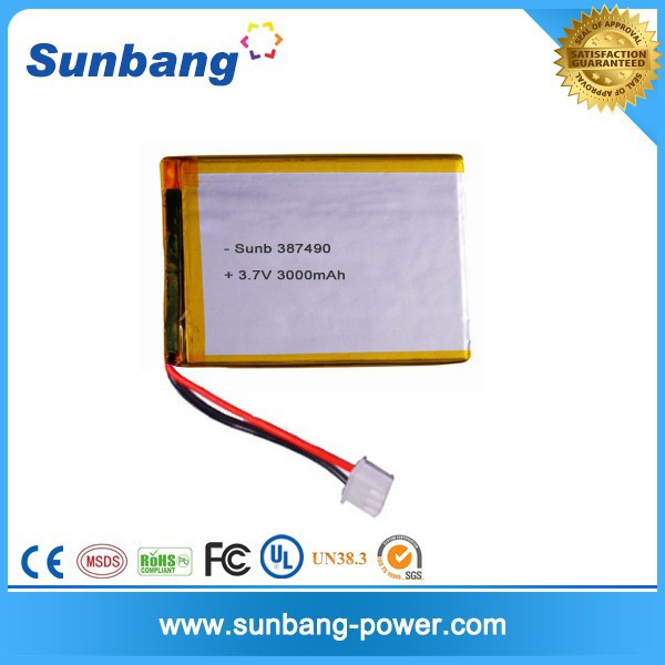 lithium ion battery raw material 3.7v 3000mah rechargeable battery 387490