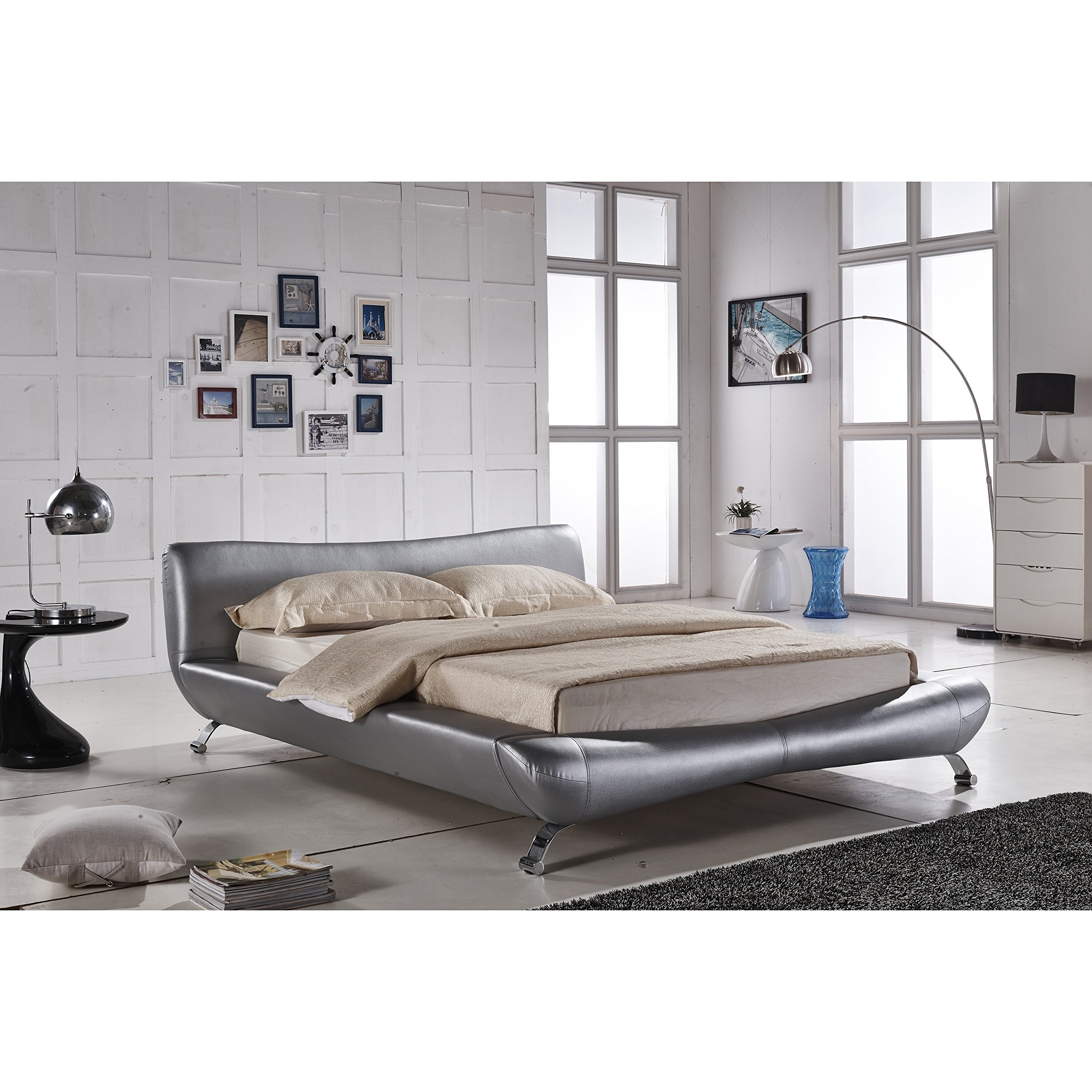 Container Furniture Direct Joyce Collection Contemporary Faux Leather Platform Bed with Headboard, Silver, Queen