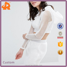 Noisy May Petite Kicks Back Net Mesh Grid Hooded Crop Top Sexy for Sport Fashion Women