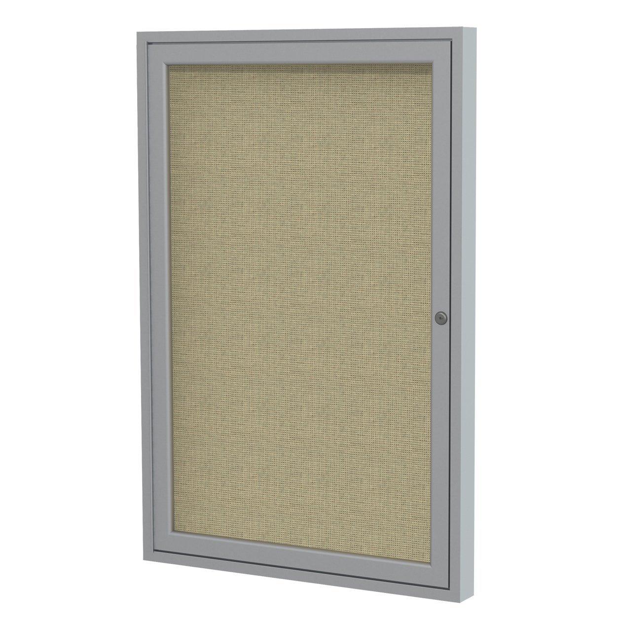 "Ghent 2"" x 1 1/2"" Satin Aluminum Frame Enclosed Fabric Bulletin Board, Beige (PA121 1/2F-90)"