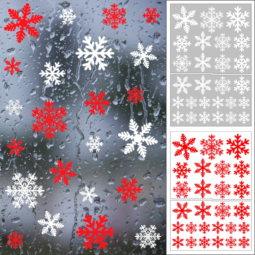 Shxstore Red and White Snowflake Window Clings Decals Christmas Glass static Stickers For Holiday Winter Decoration Supplies