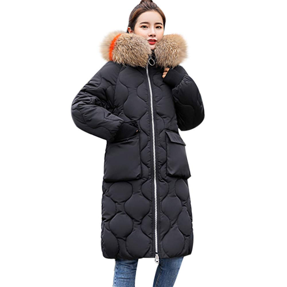 Clearance Sale! ZYooh Women Solid Winter Down Jacket Coat Casual Thicker Warm Faux Fox Fur Hooded Overcoat Coat