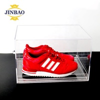 JINBAO Wholesale Custom Stackable Plexiglass Shoe Storage Display Box Clear Sliding Acrylic Drop Front Shoe Box with Drawer