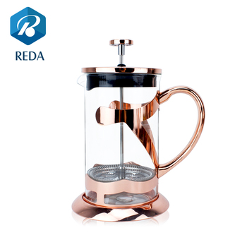 2017 Amazon hot selling rose gold copper stainless steel french press coffee maker/plunger