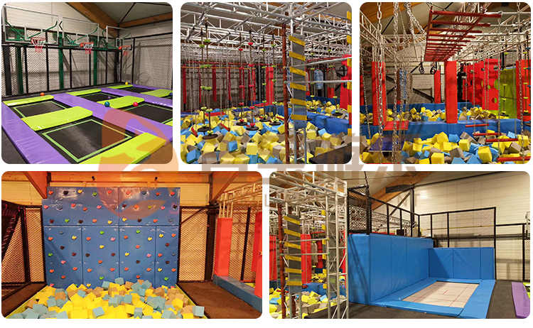 Factory custom popular kids games durable rectangle indoor trampoline park with video