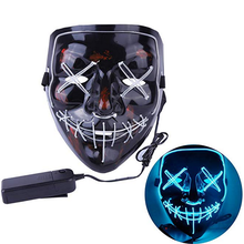 2018 Amazon hot sale Preto EL <span class=keywords><strong>neon</strong></span> led <span class=keywords><strong>máscara</strong></span> <span class=keywords><strong>máscara</strong></span> do partido de purga para cosplay, Halloween, Festa
