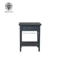 Antique French-style Wooden Drifted Black Bedside Table HL292-107