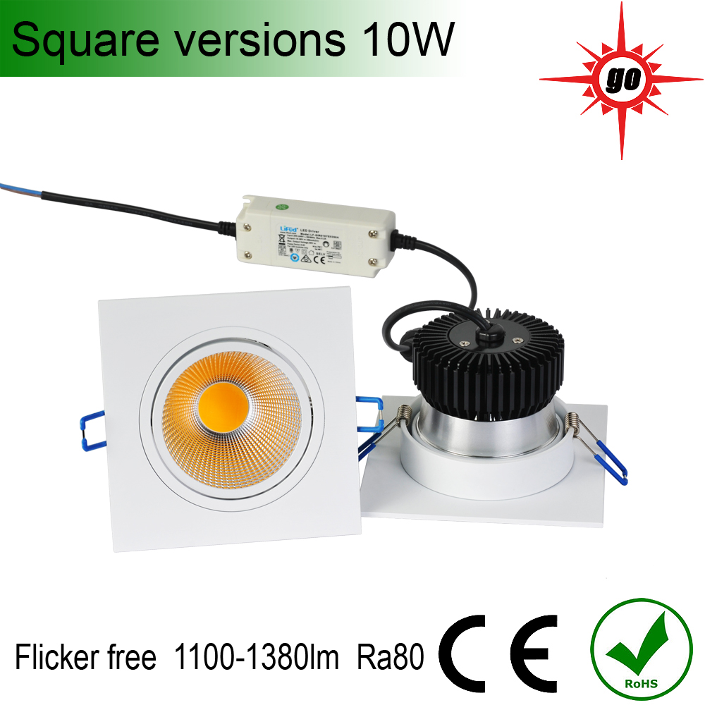 Low power consumption white/black/silver 10W CITIZEN COB Recessed LED square Downlight