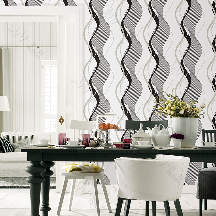 Charming Home Decor 3d Vinyl Wall Panel Wavy Lines Black And White ...