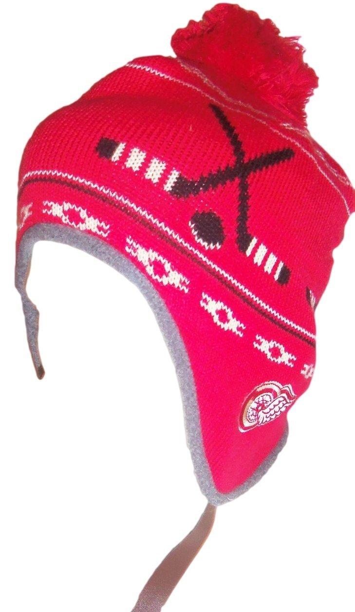 Detroit Red Wings NHL Inner FleeceBall Top Knit Hat Cap Toque Tassel Pom OSFA