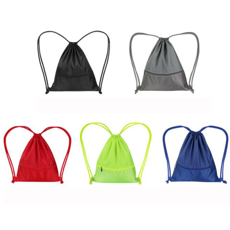 Economical oxford fabric drawstring style double straps sports pocket gym backpack