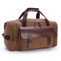Wholesale vintage canvas leather travel tote bag casual overnight weekender bag