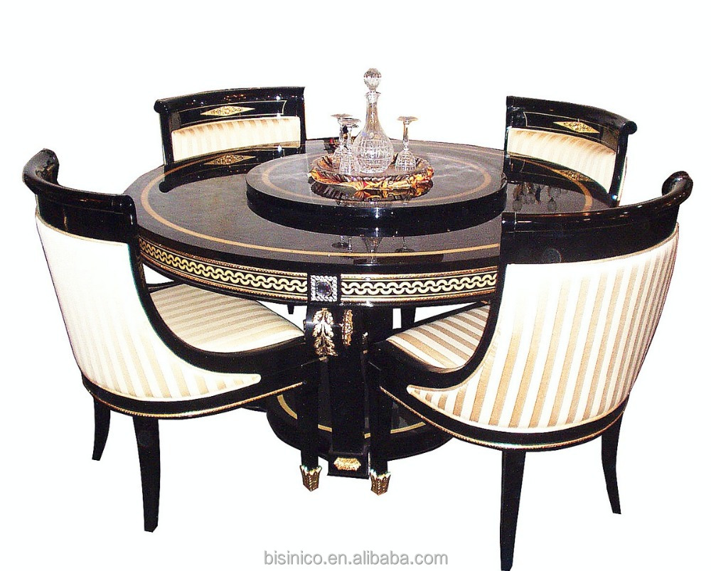 European Antique Gold And Black Round Dining Table Chair Set With Lazy Susan