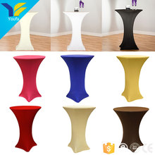 Custom wedding dining round polyester spandex high bar cocktail table cloth stretch table cover