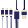Hot Sale Aluminum Alloy Nylon Pure Copper Core 3 in 1 Fast Charging USB Cable For Mobile Phone