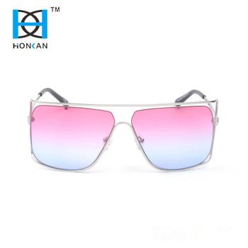e09359009ea2 Double bridge mirror gradient lens metal frame polarized sunglasses ...