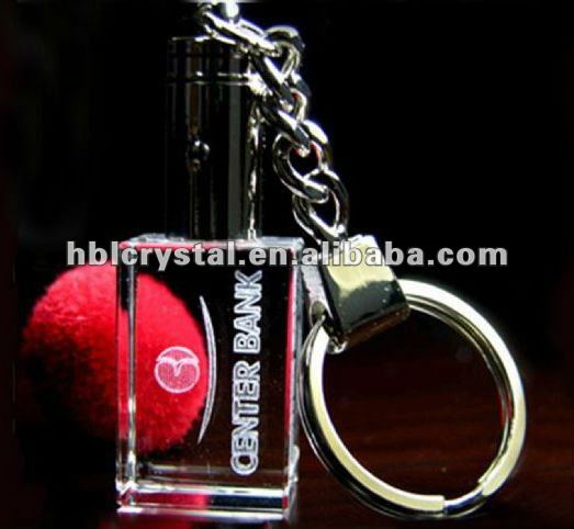rectangle shaped crystal keychain with led light