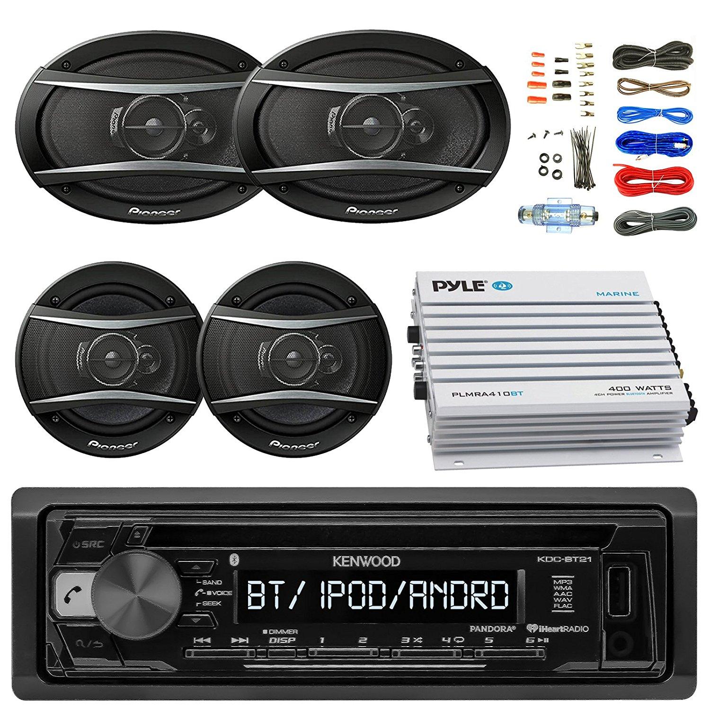 "Kenwood KDCBT21 Car Bluetooth Radio USB AUX CD Player Receiver - Bundle With 2x TSA1676R 6.5"" 3-Way Car Audio Speakers - 2x 6.5""-6.75"" 4-Way Stereo Speaker + 4-Channel Amplifier + Amp Kit"