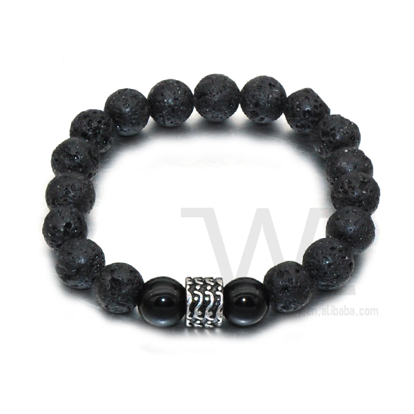 WE High Quality Stainless Steel Beads Natural Volcanic Rock Men's Beaded Bracelet