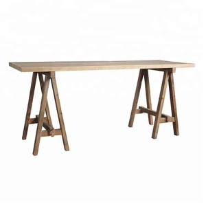 Farmhouse reclaimed wood writing table sawhorse desk
