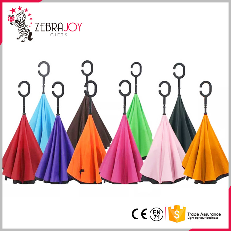 Top design double layer folding windproof travel custom upside-down reverse inverted umbrella