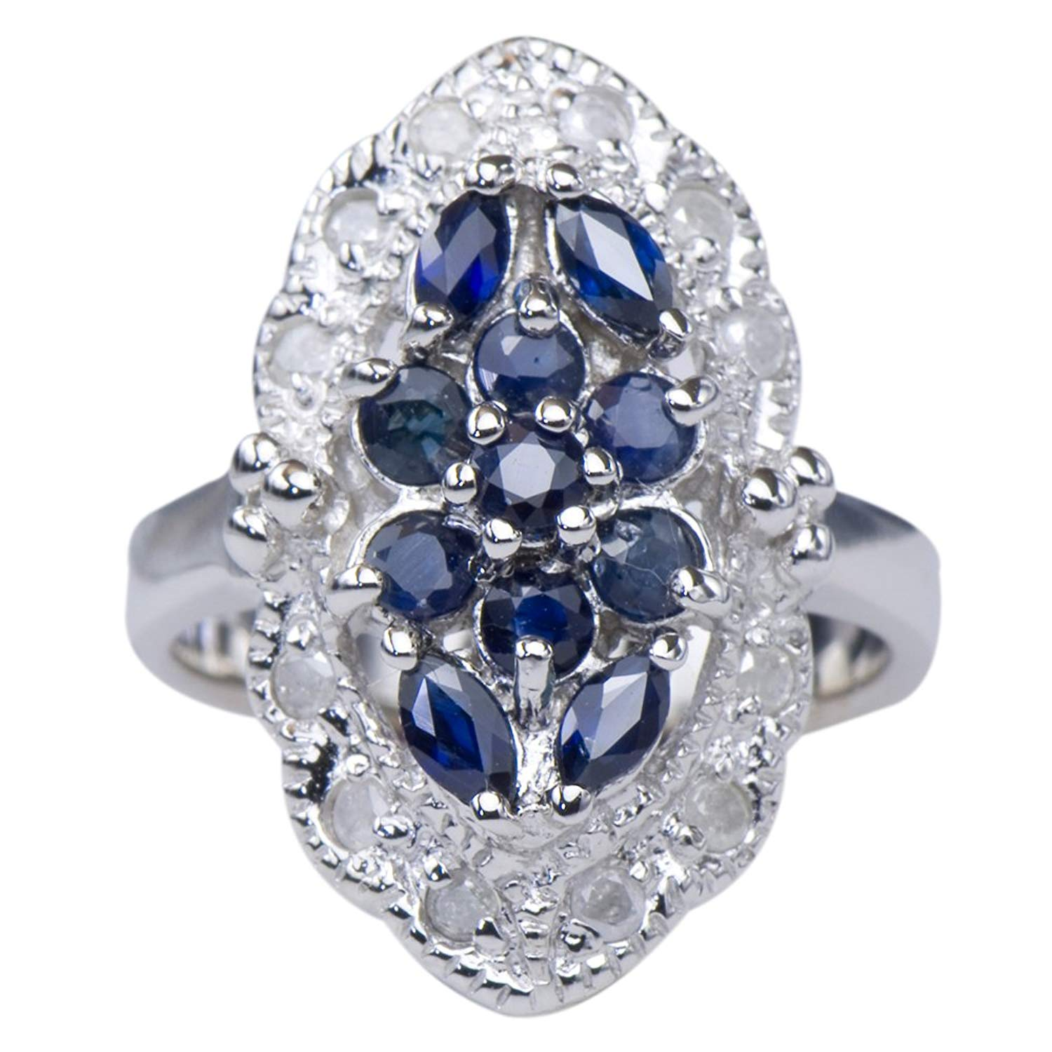 Caratera Fine Jewelry Marquise Sapphire Natural Gemstone Diamond 925 Sterling Silver Jewelry Band Ring